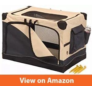 Soft Side Pet Crate, NavyTan