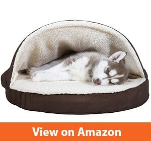 FurHaven Pet Dog Bed | Orthopedic Round Snuggery Burrow Pet Bed for Dogs & Cats