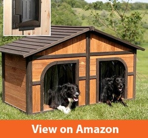 Solid Wood Construction Heated Extra Large Dog House for One or Two Dogs