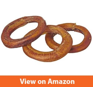 Bully Stick Rings - Natural Bulk Dog Dental Treats & Healthy Chew, Best Thick Low-odor Pizzle Stix, Free Range & Grass Fed Beef
