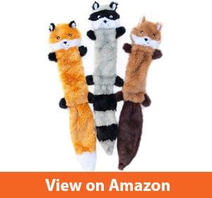 ZippyPaws – Skinny Peltz No Stuffing Squeaky Plush Dog Toy, Fox, Raccoon, and Squirrel